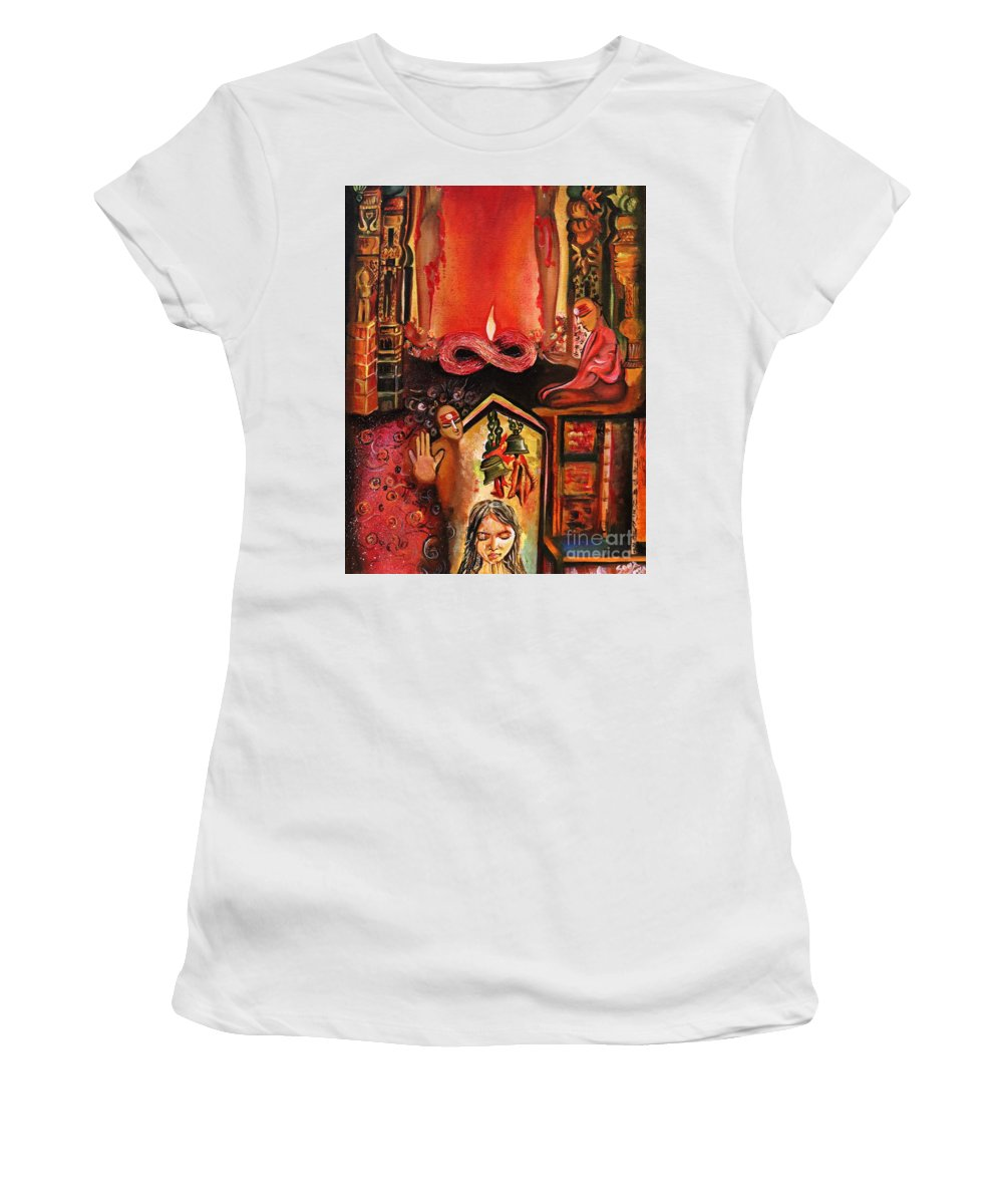 Acrylic Oil Painting Women's T-Shirt (Athletic Fit) featuring the painting Menstuartion by Richa Anand
