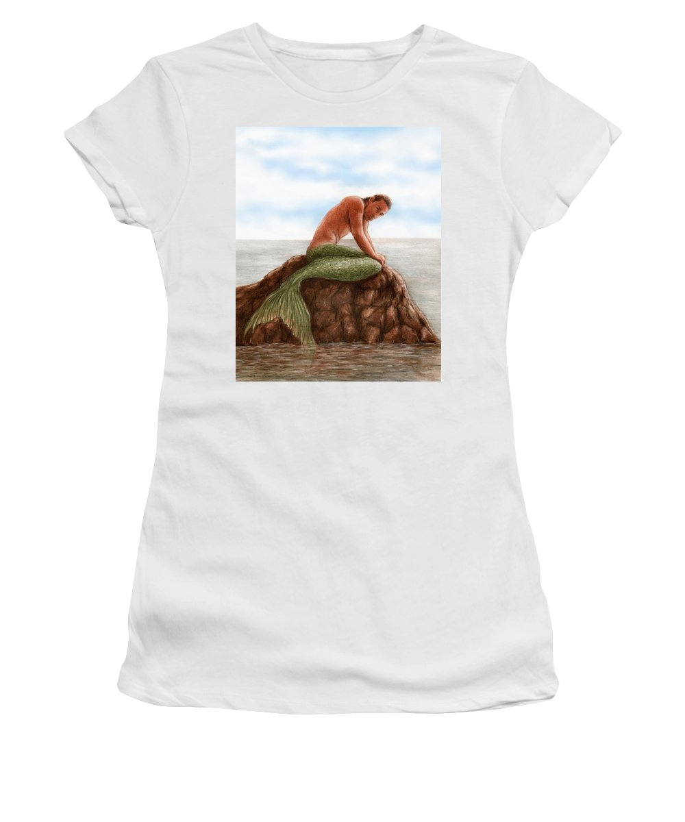 Merman Mermaid Bruce Lennon Art Women's T-Shirt (Athletic Fit) featuring the painting Merman Resting by Bruce Lennon