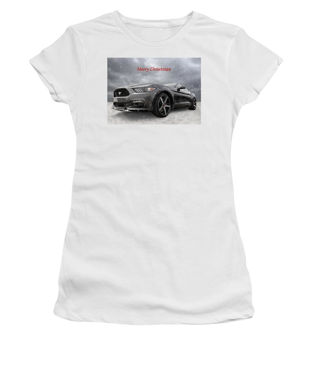 Ford Mustang Women's T-Shirt (Athletic Fit) featuring the photograph Merry Christmas Mustang S550 by Gill Billington