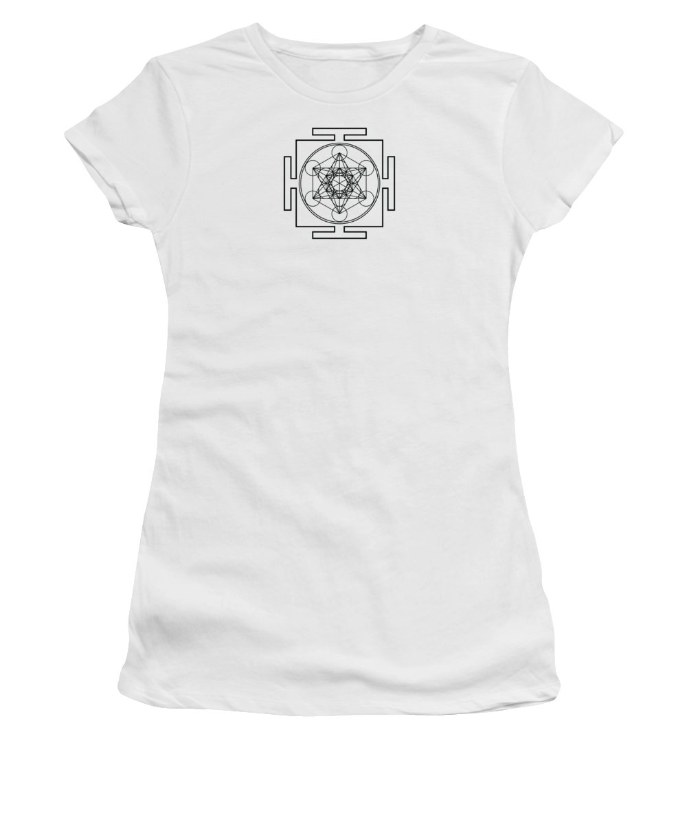 Metatron's Cube Women's T-Shirt (Athletic Fit) featuring the digital art Metatron's Cube - Black by Galactic Mantra