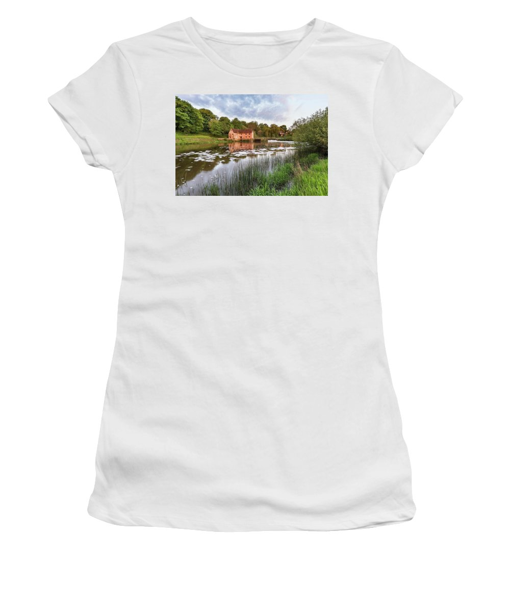 Landscape Women's T-Shirt featuring the photograph Early Morning View Across River Stour To Sturminster Newton Mill In Dorset. 1 by Matthew Gibson