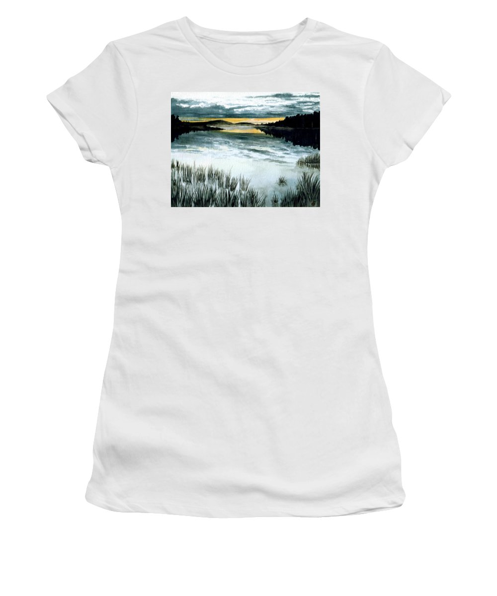 Watercolor Women's T-Shirt featuring the painting Midnight Sun by Brenda Owen