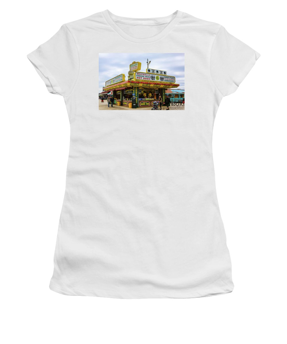 This Is A Photo Of An Iconic Place On The Seaside Boardwalk In Seaside New Jersey. Women's T-Shirt featuring the photograph Midway by William Rogers