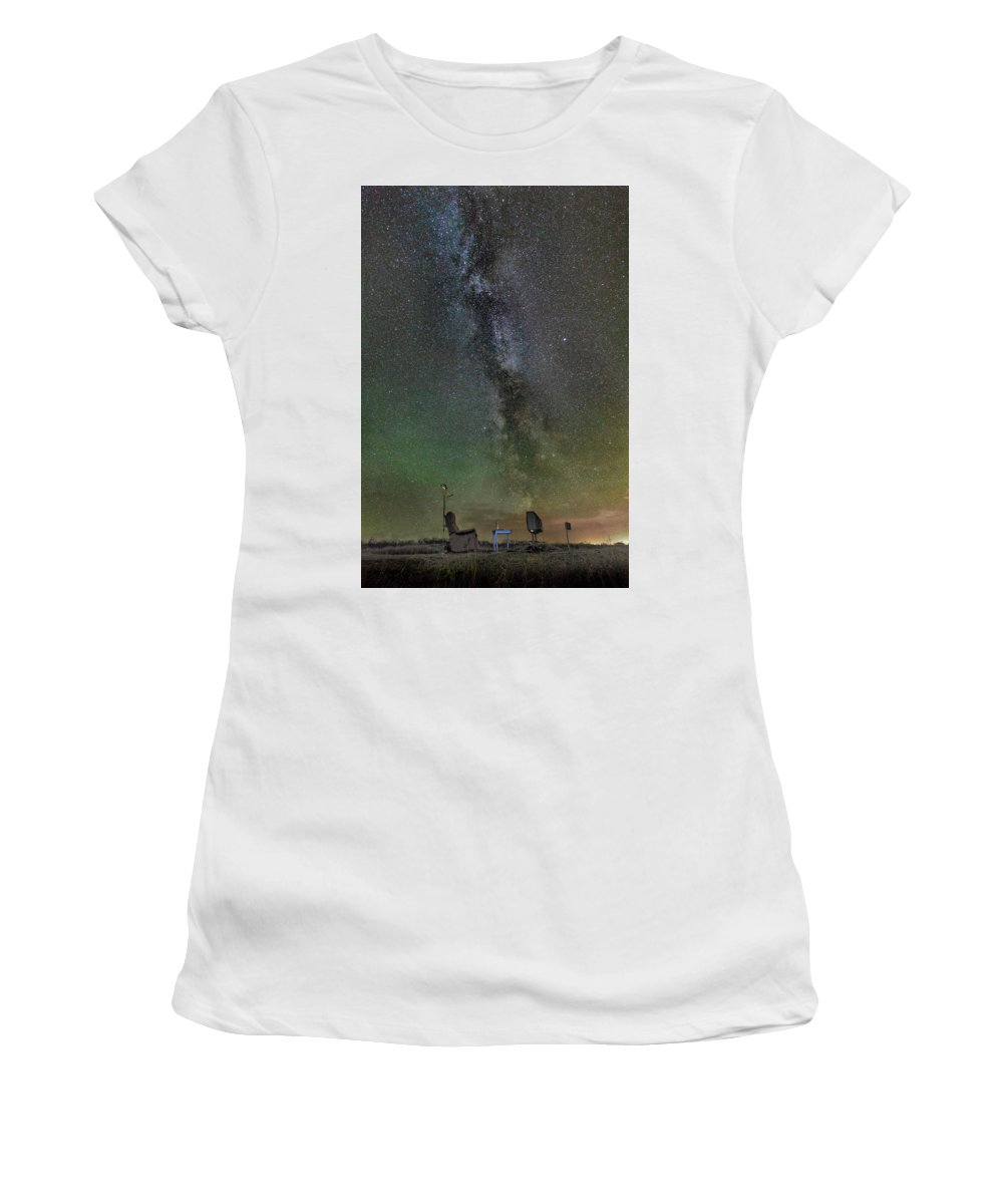 Iceland. Northern Lights Women's T-Shirt (Athletic Fit) featuring the photograph Milky Way by Bragi Kort