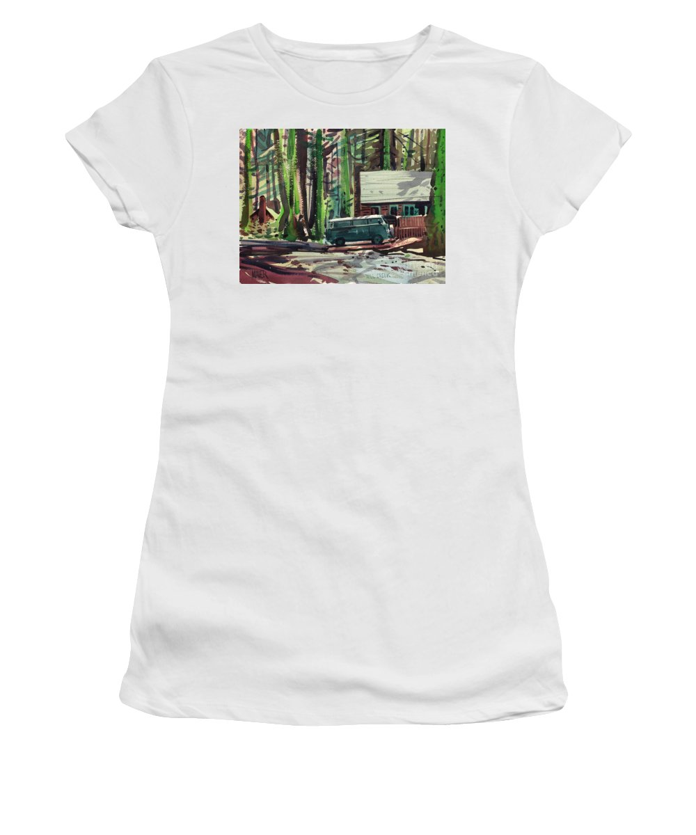 Mill Creek Women's T-Shirt (Athletic Fit) featuring the painting Mill Creek Camp by Donald Maier