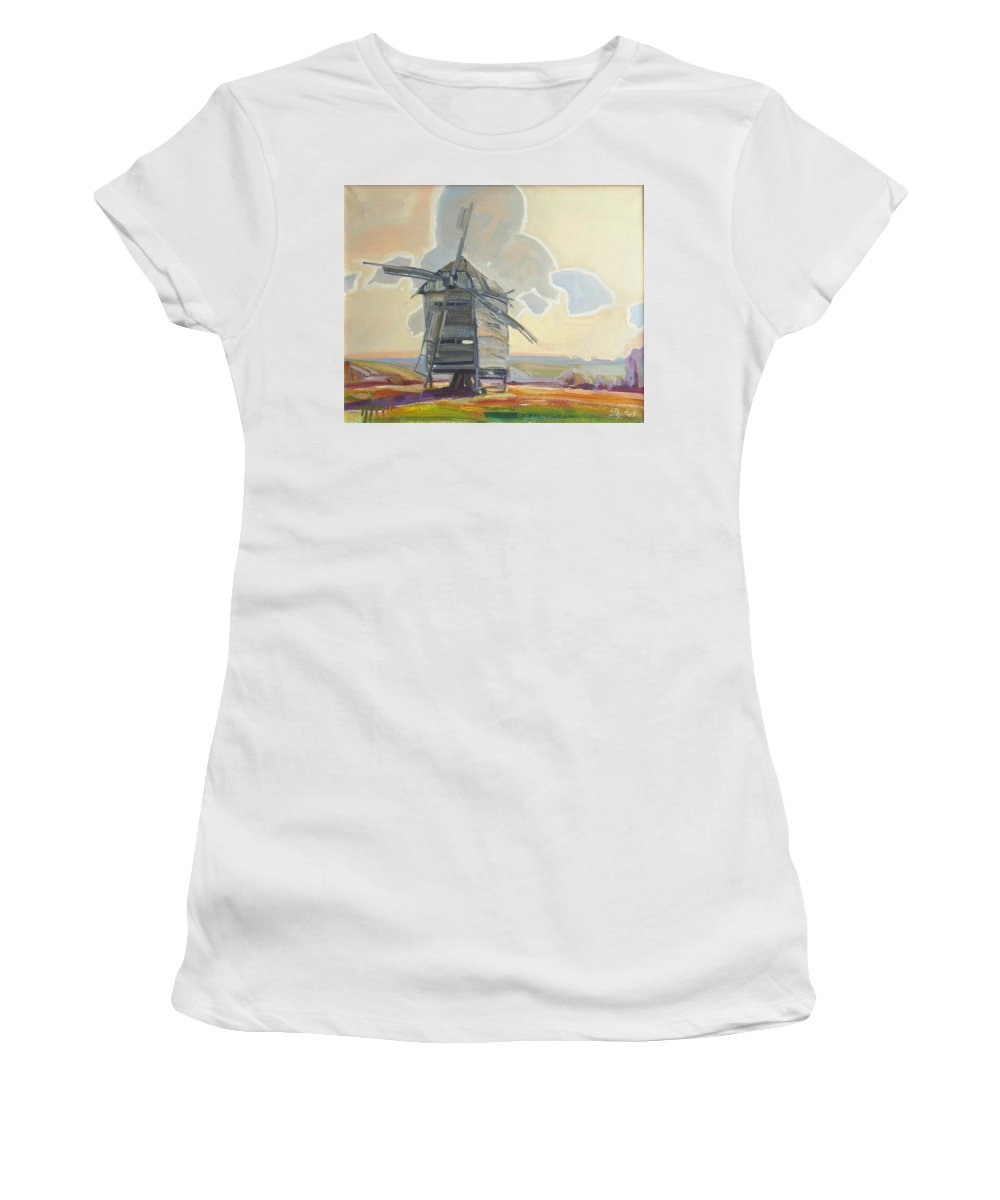 Oil Women's T-Shirt (Athletic Fit) featuring the painting Mill by Sergey Ignatenko
