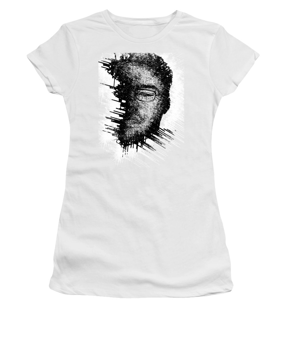 Black And White Women's T-Shirt (Athletic Fit) featuring the digital art Mind Cavity by Bayley Williams