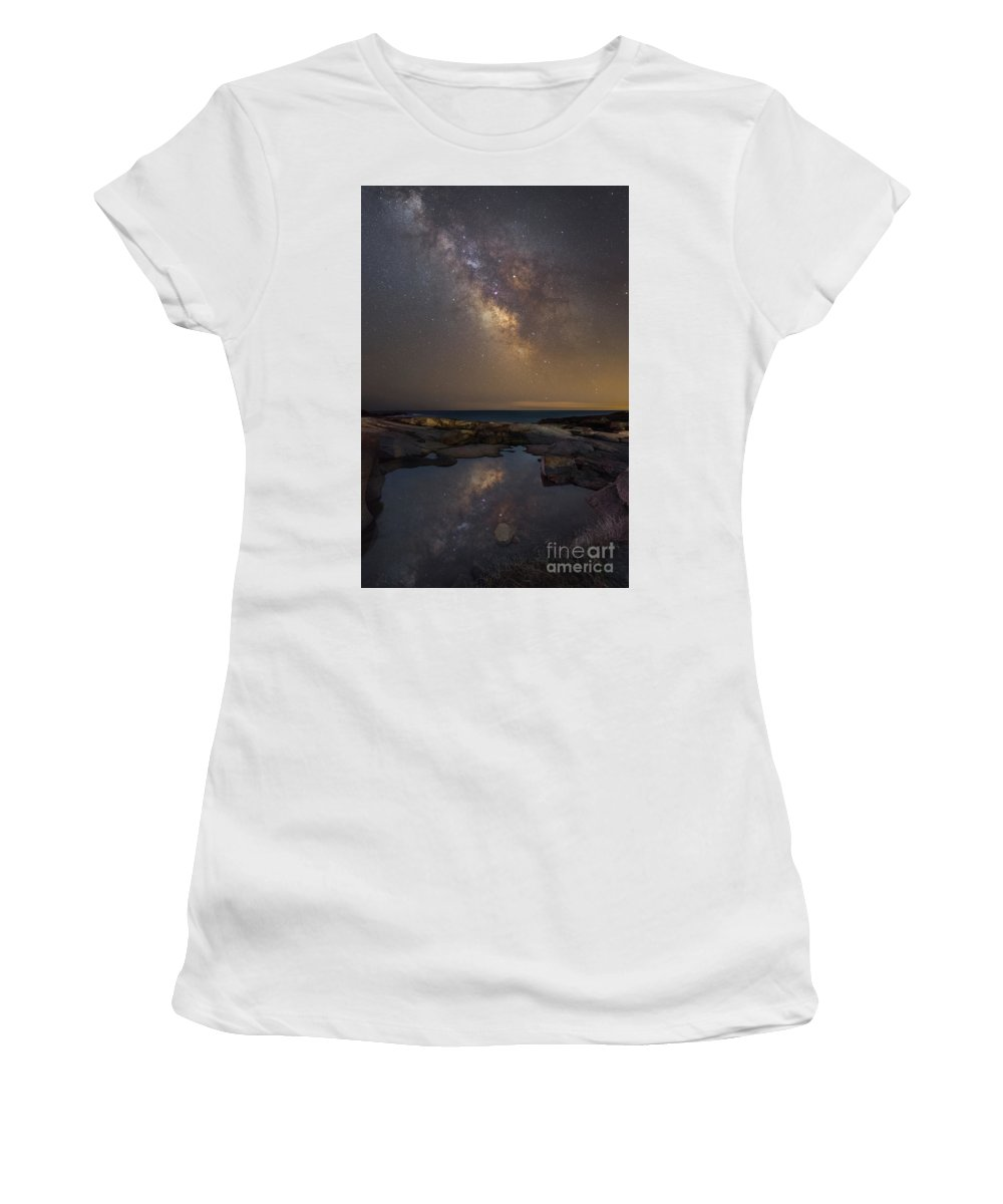 Midnight Explorer Women's T-Shirt (Athletic Fit) featuring the photograph Mirror Finish by Michael Ver Sprill