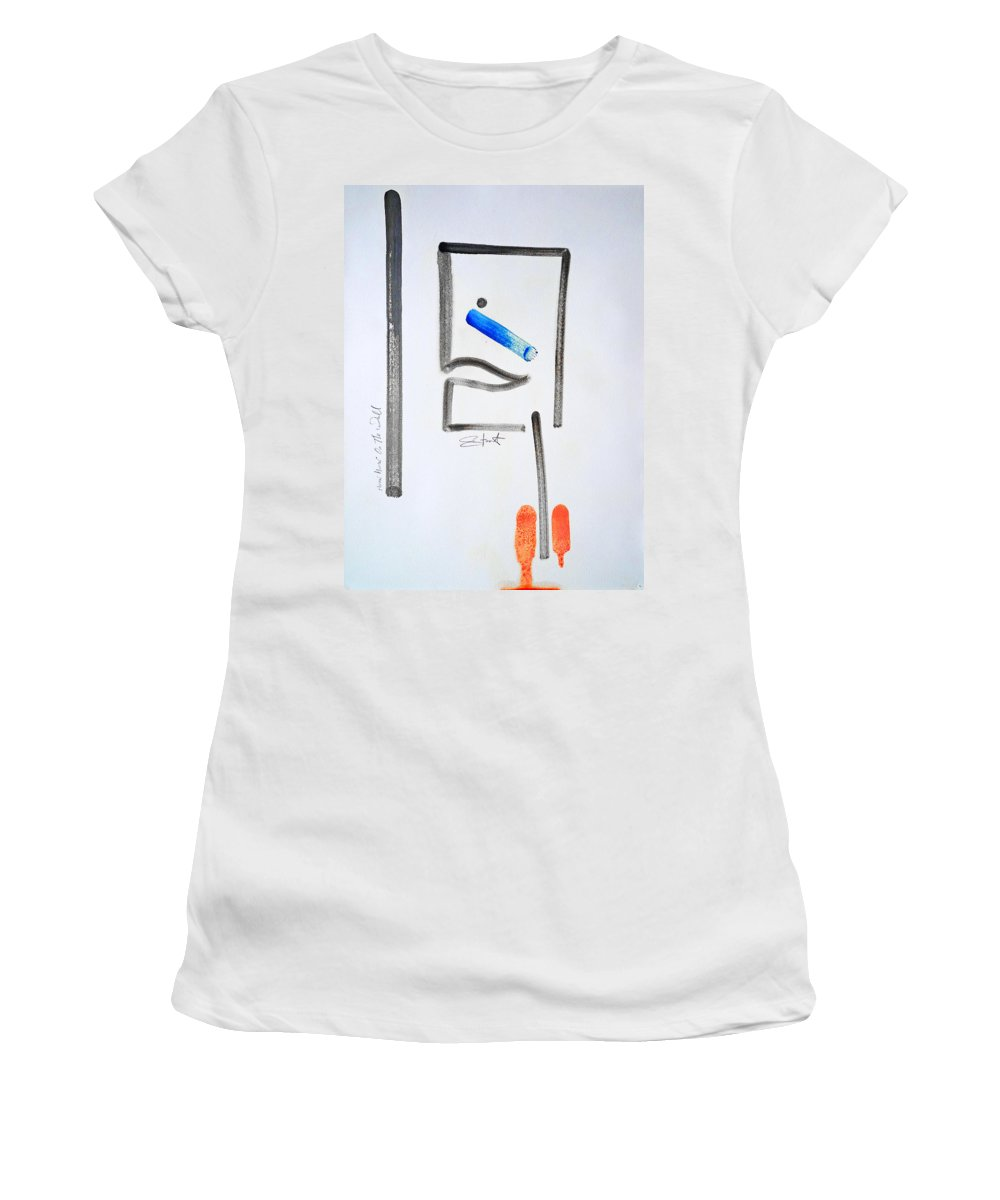 Drawing Women's T-Shirt (Athletic Fit) featuring the painting Mirror Mirror On The Wall by Charles Stuart