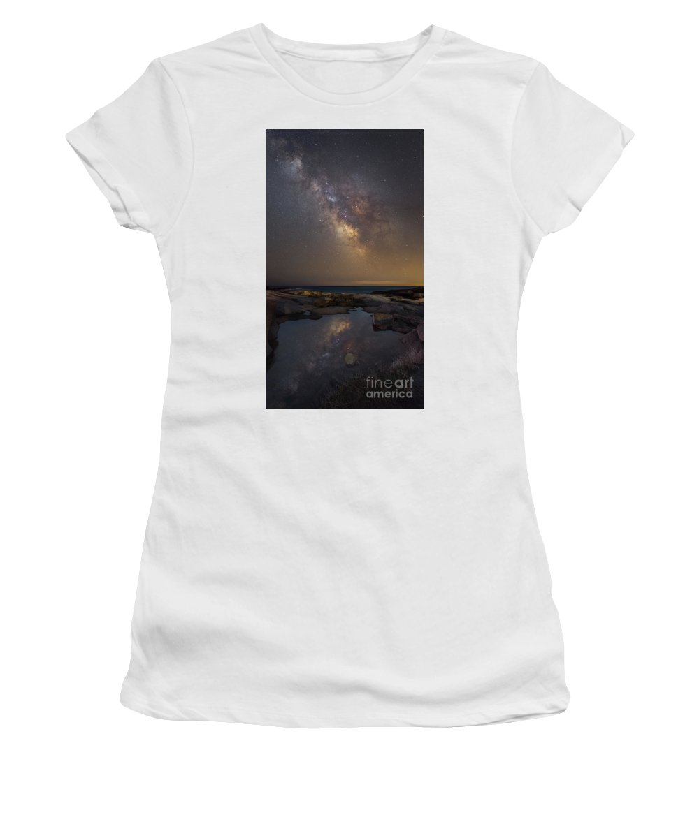 Midnight Explorer Women's T-Shirt (Athletic Fit) featuring the photograph Mirror Reflections Panorama by Michael Ver Sprill