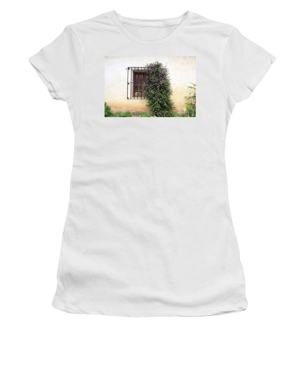 Purple Flowers Women's T-Shirt (Athletic Fit) featuring the photograph Mission Window With Purple Flowers by Carol Groenen