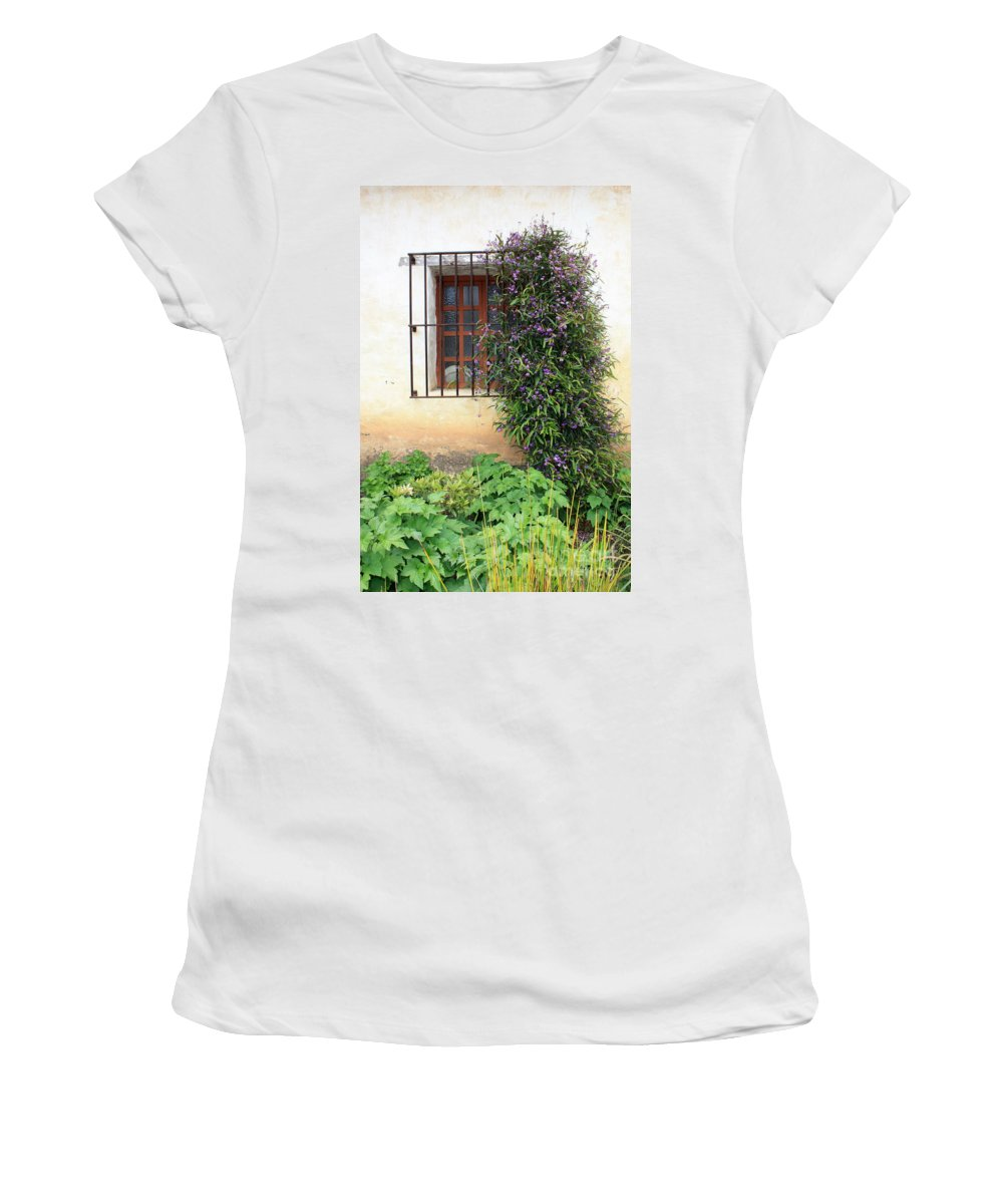 Mission Women's T-Shirt (Athletic Fit) featuring the photograph Mission Window With Purple Flowers Vertical by Carol Groenen
