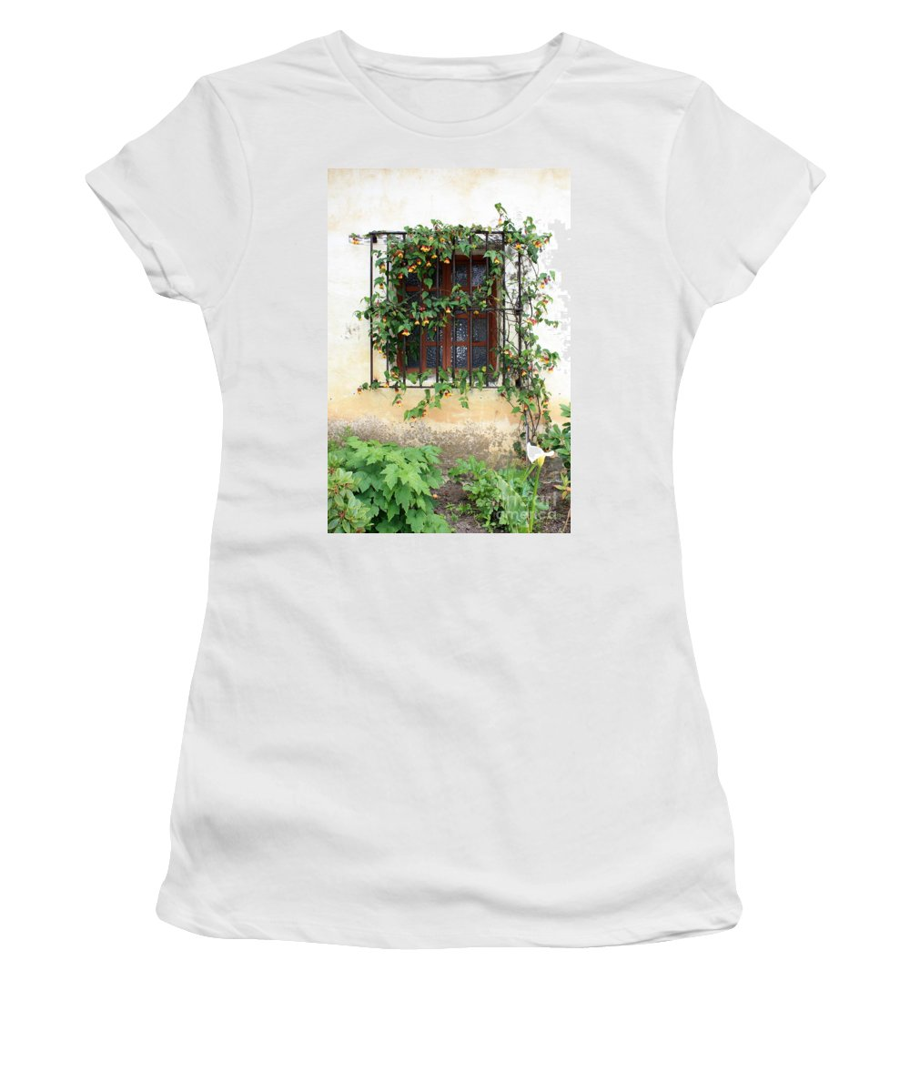 Mission Window Women's T-Shirt (Athletic Fit) featuring the photograph Mission Window With Yellow Flowers Vertical by Carol Groenen