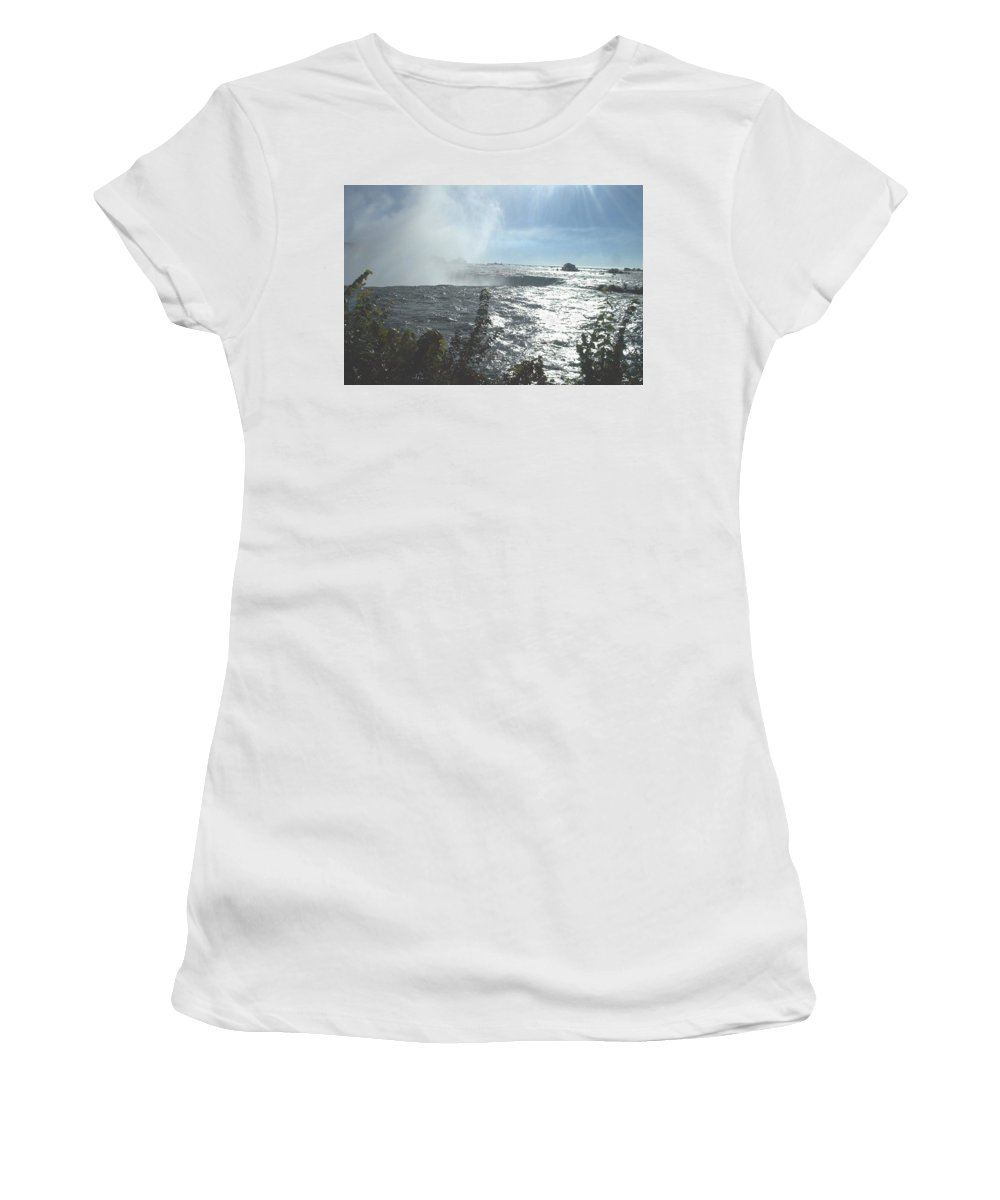 Landscape Women's T-Shirt (Athletic Fit) featuring the photograph Mist At The Falls by Debbie Levene