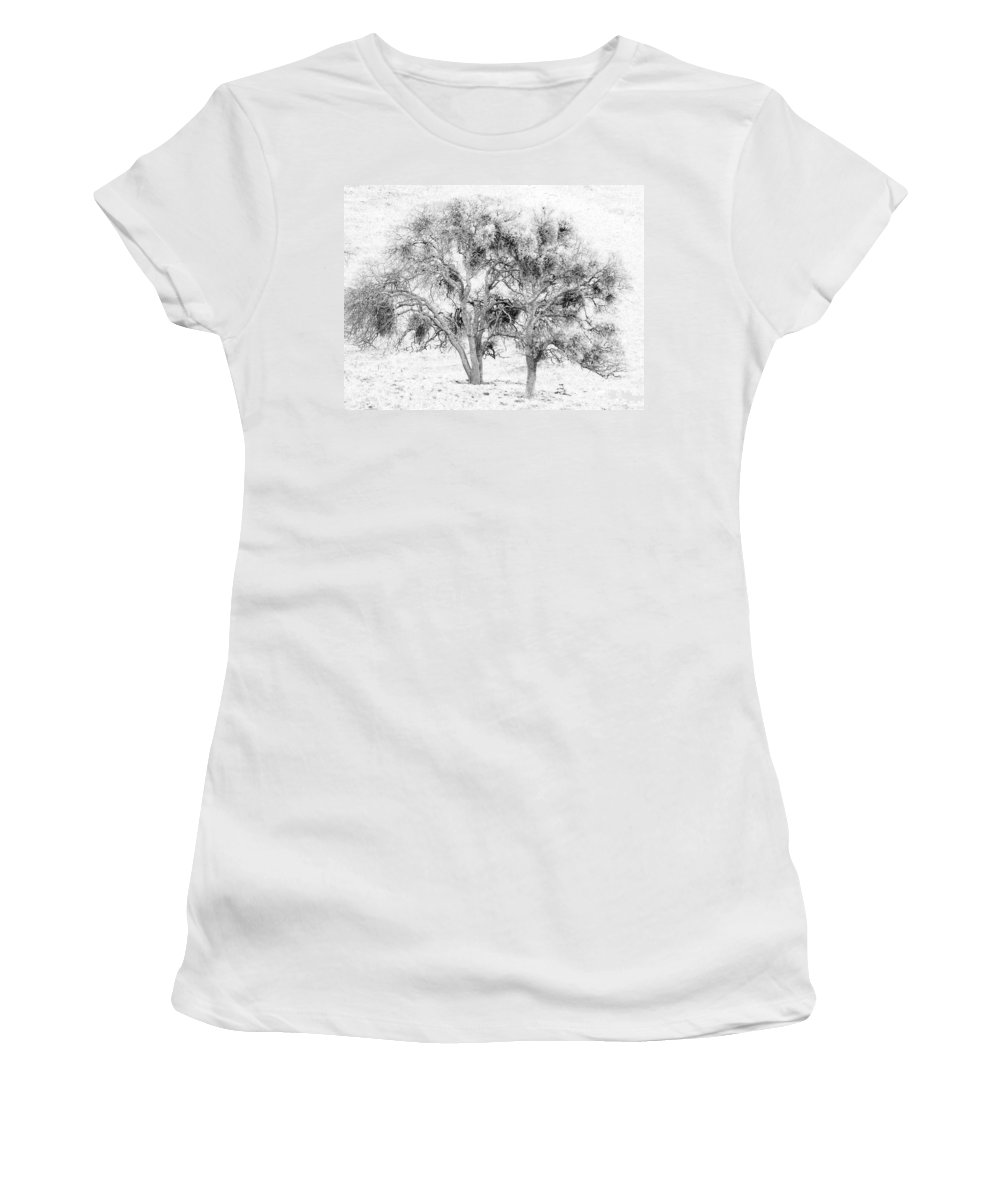 Trees Women's T-Shirt (Athletic Fit) featuring the photograph Mistletoe Tree In Black And White by Karen W Meyer