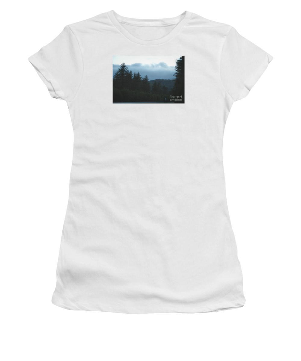 Moon Women's T-Shirt (Athletic Fit) featuring the photograph Misty Maine Woods by Marina McLain