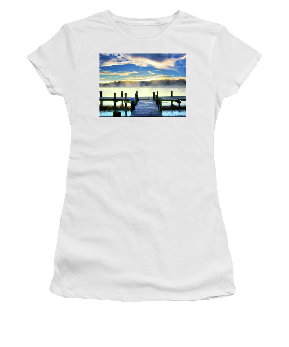 2d Women's T-Shirt (Athletic Fit) featuring the photograph Misty Morning On Rock Creek by Brian Wallace