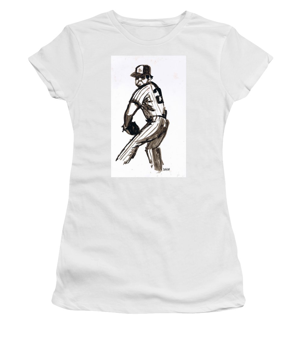 Mlb The Pitcher Women's T-Shirt featuring the drawing Mlb The Pitcher by Seth Weaver