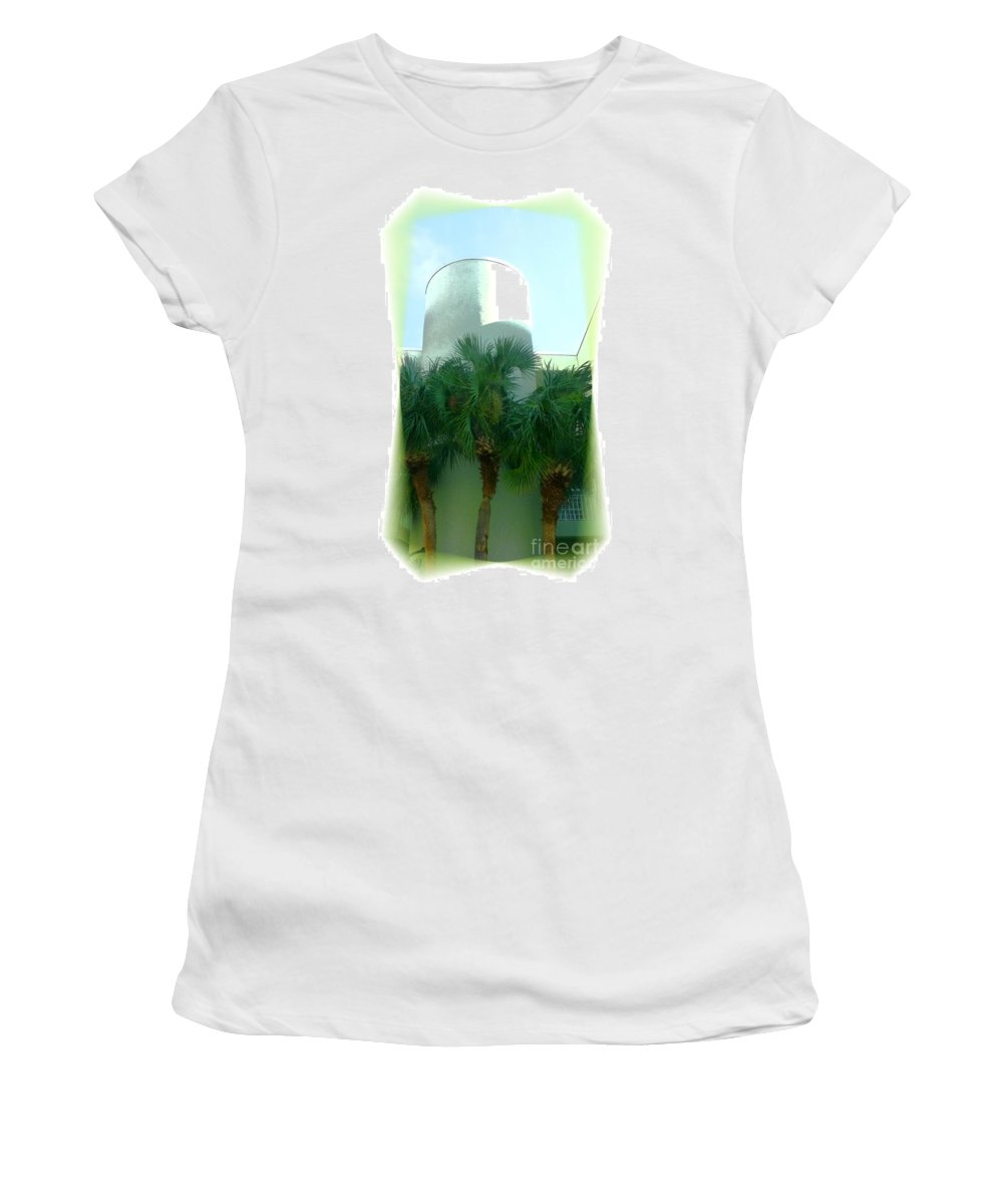 Hotel Women's T-Shirt (Athletic Fit) featuring the photograph Modern Hotel Of Old Florida by Barbie Corbett-Newmin