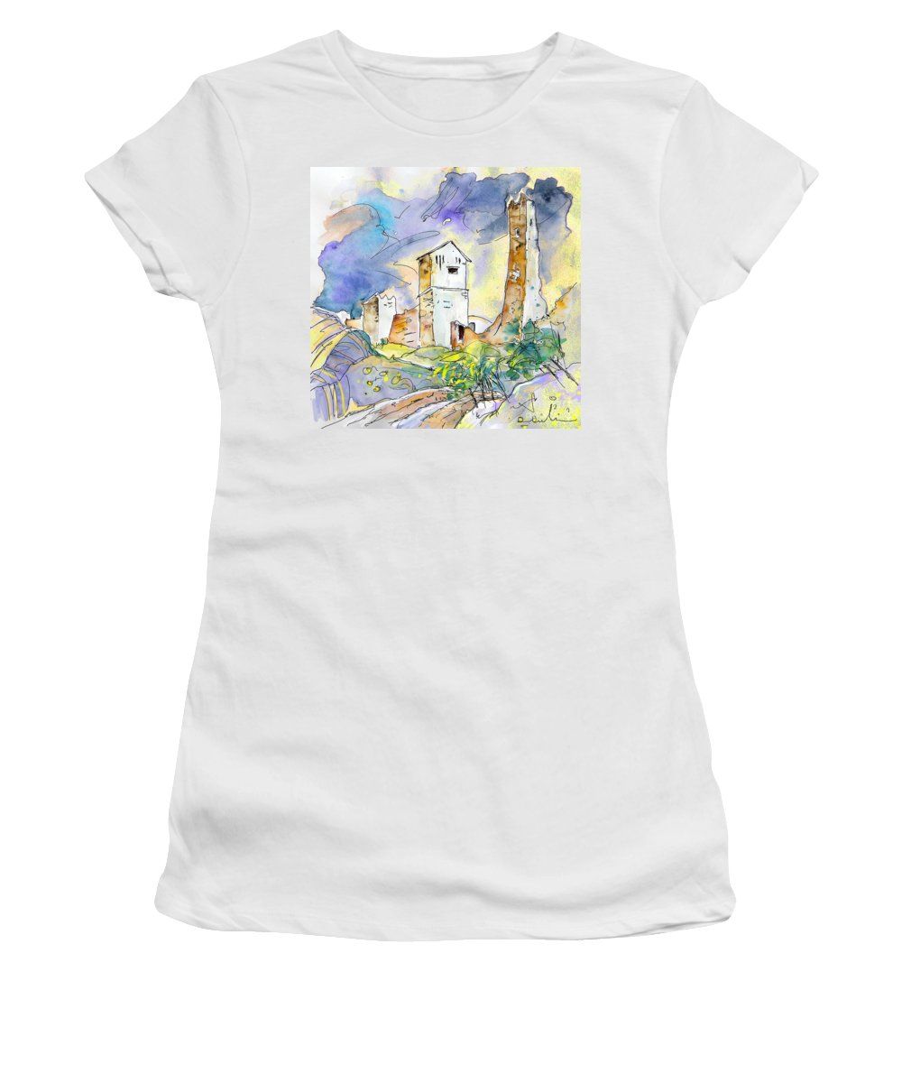 Travel Sketch Women's T-Shirt (Athletic Fit) featuring the painting Molina De Aragon Spain 01 by Miki De Goodaboom
