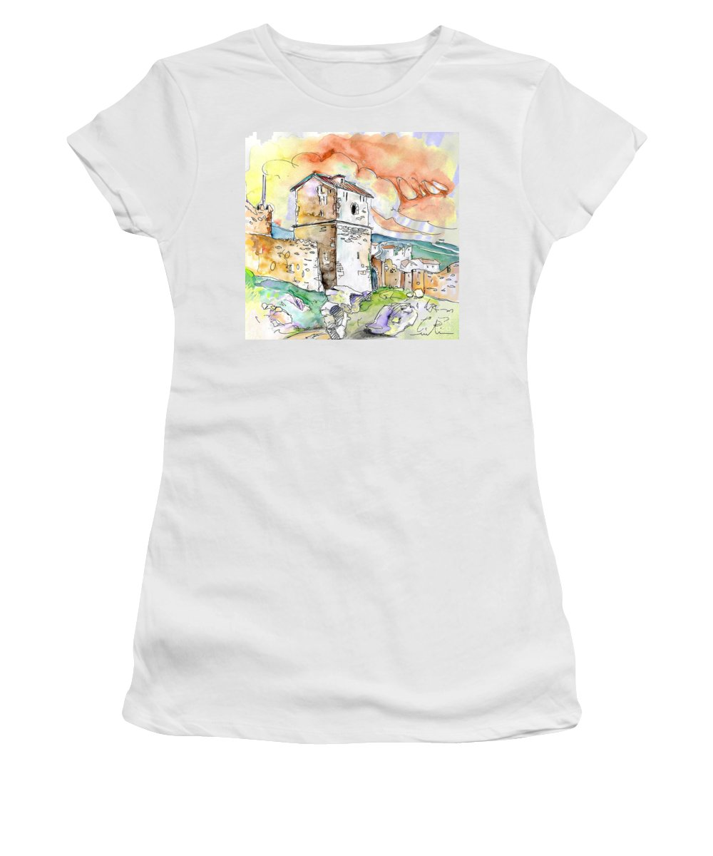 Travel Sketch Women's T-Shirt (Athletic Fit) featuring the painting Molina De Aragon Spain 02 by Miki De Goodaboom
