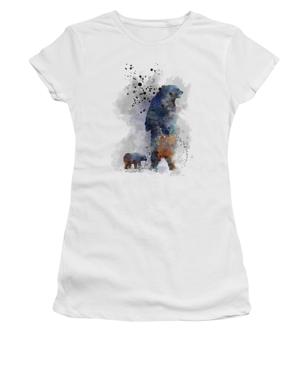 Bear Women's T-Shirt (Athletic Fit) featuring the digital art Mom And Baby Bear by Marlene Watson