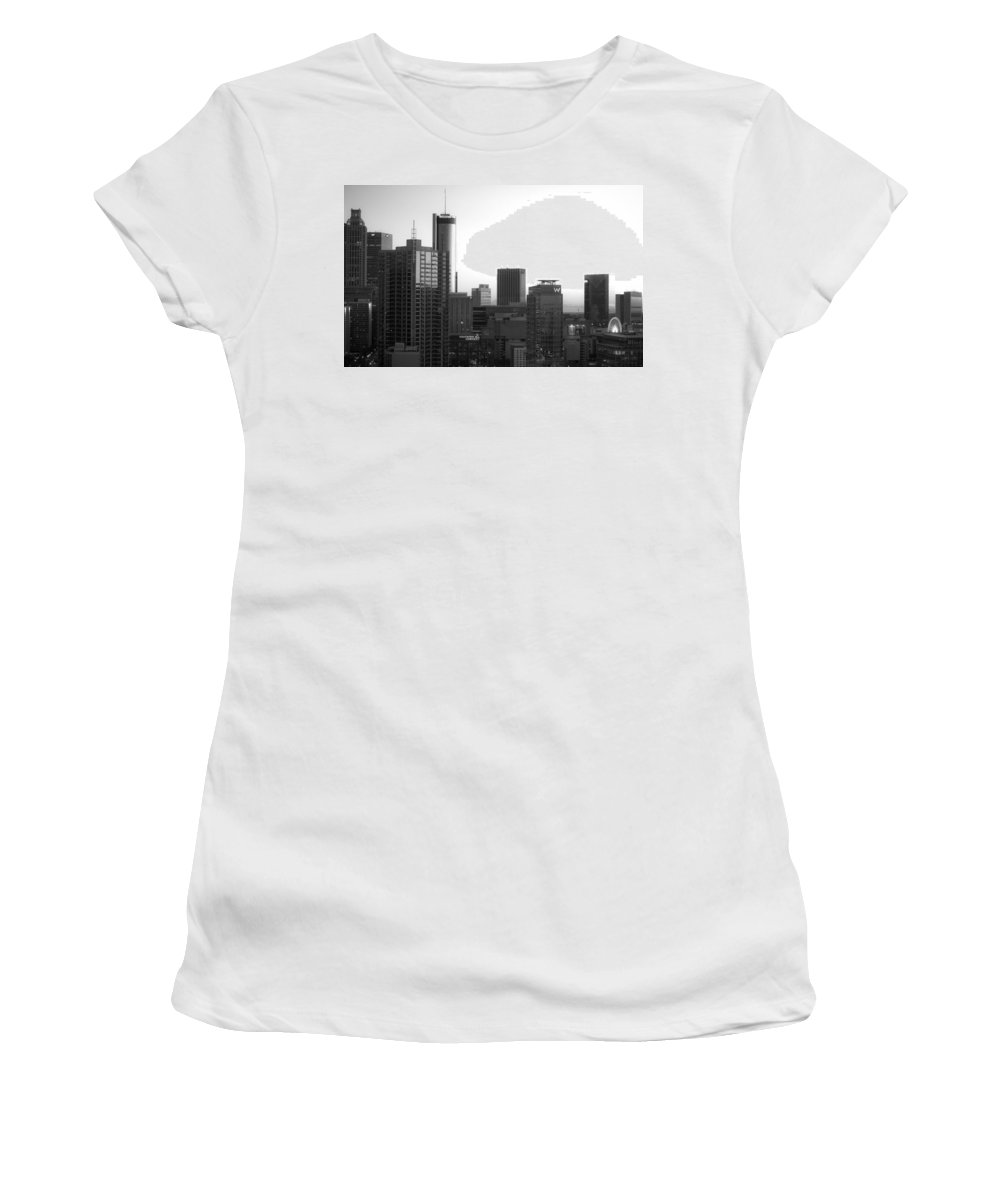 Black And White Women's T-Shirt featuring the photograph Monochrome City by Mike Dunn