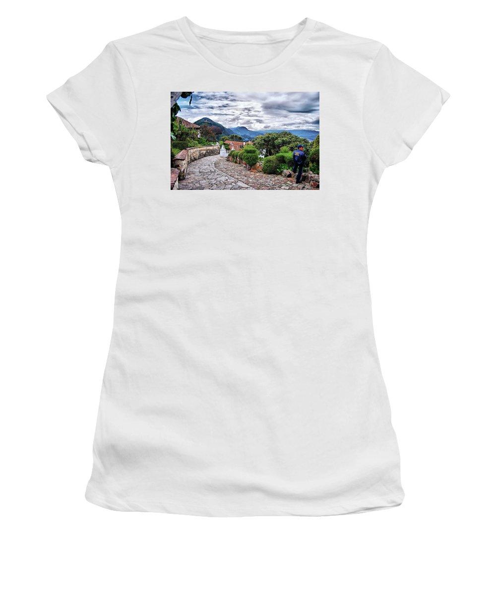 Monserrate Women's T-Shirt featuring the digital art Monserrate - Colombia by Galeria Trompiz