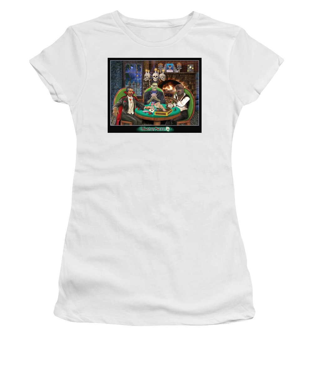Halloween Art Greeting Cards Women's T-Shirt (Athletic Fit) featuring the digital art Monster Poker by Glenn Holbrook