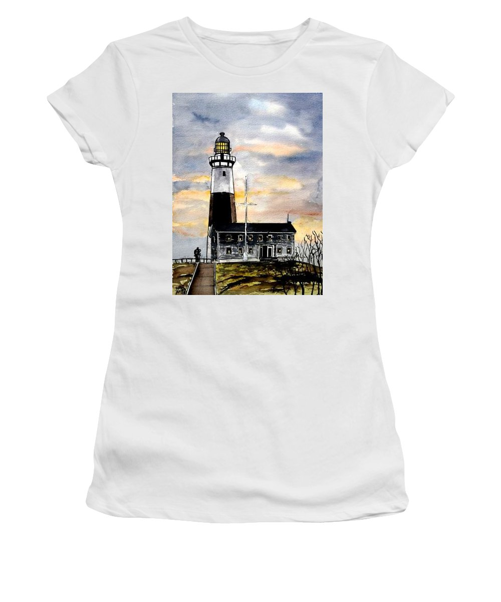 Montauk Point Women's T-Shirt (Athletic Fit) featuring the painting Montauk Point Lighthouse by Derek Mccrea