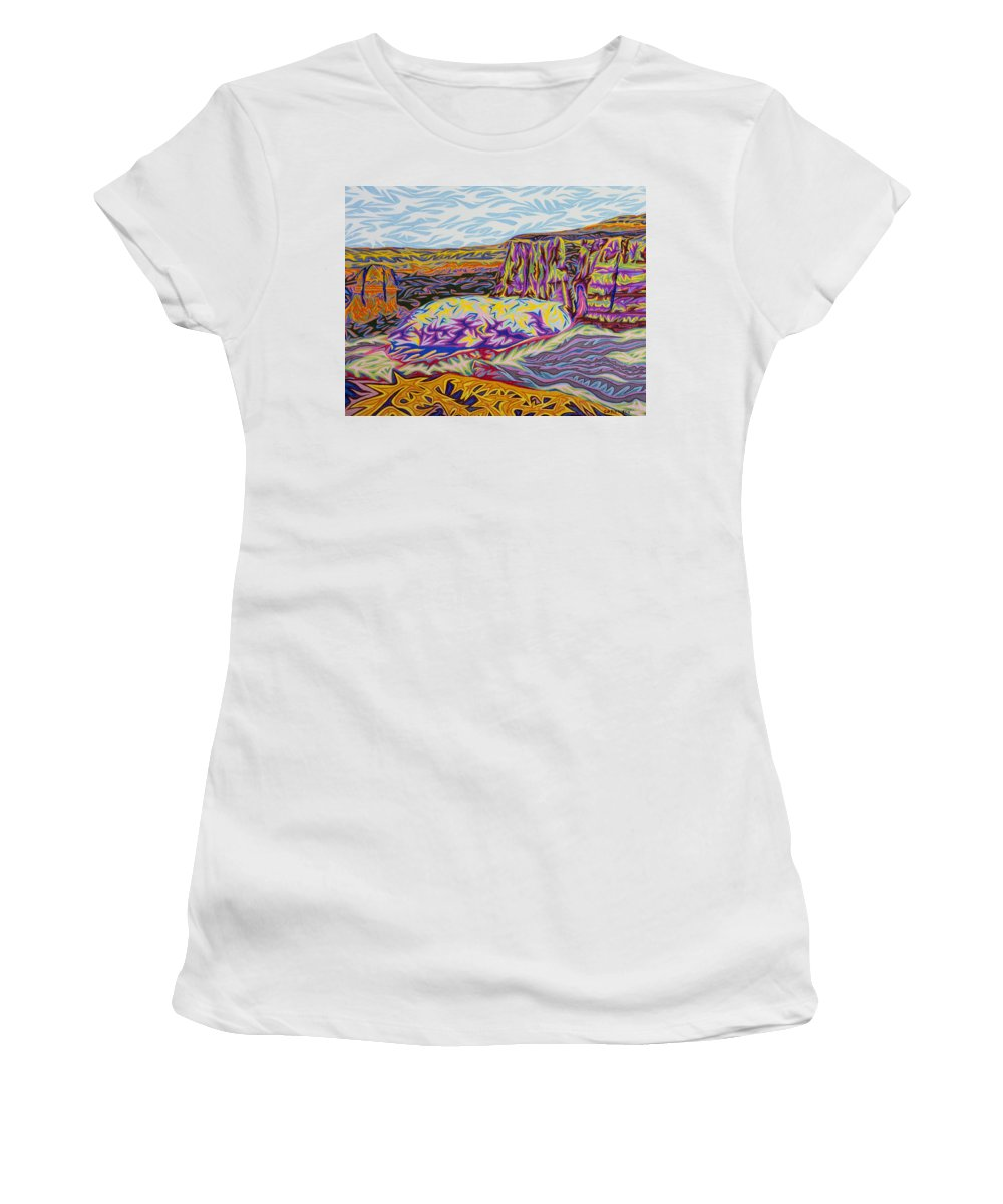 Colorado Women's T-Shirt featuring the painting Monument Canyon by Robert SORENSEN