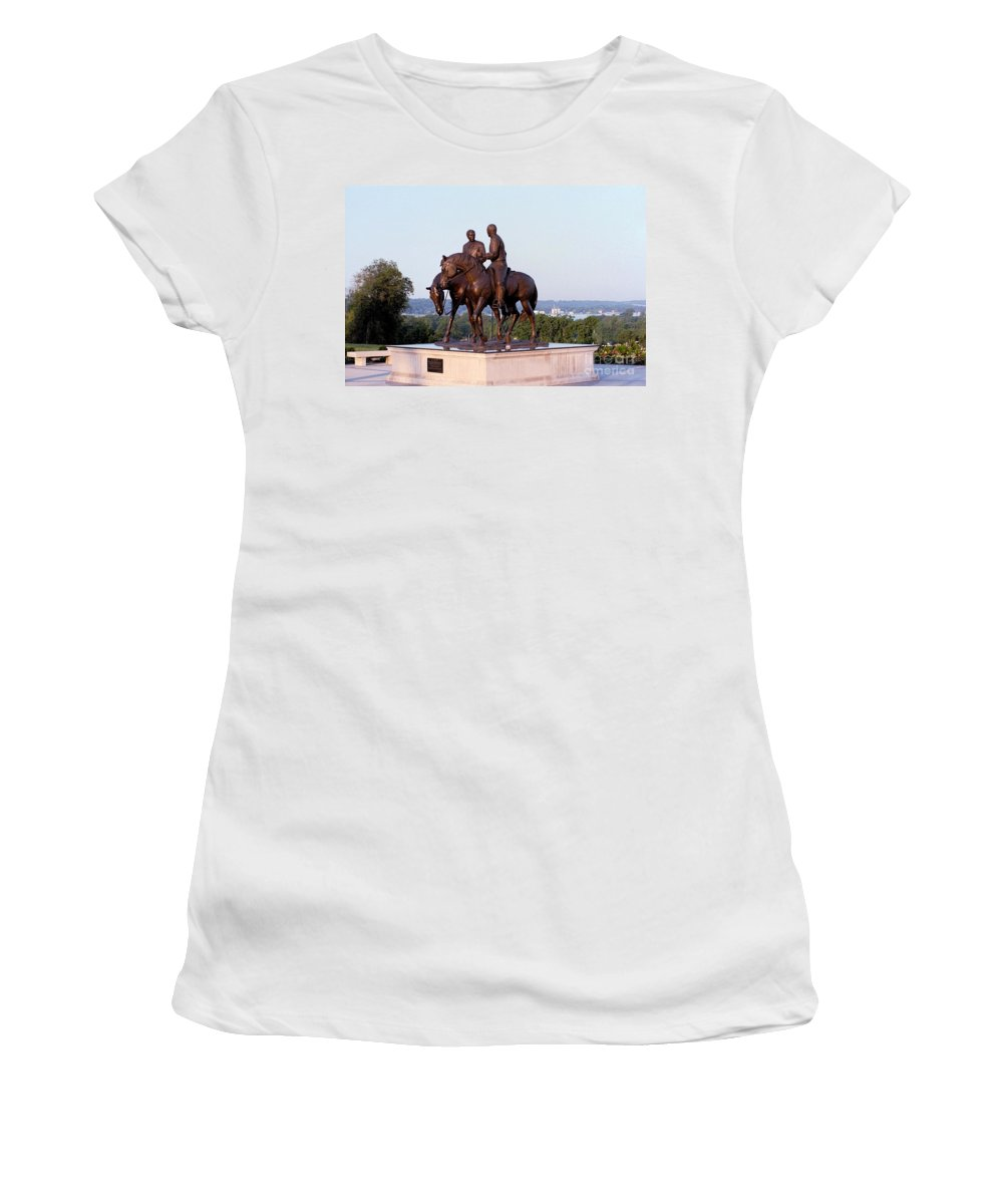 Hyrum Smith Women's T-Shirt (Athletic Fit) featuring the photograph Monument In Nauvoo Illinois Of Hyrum And Joseph Smith Riding Their Horses by Kim Corpany