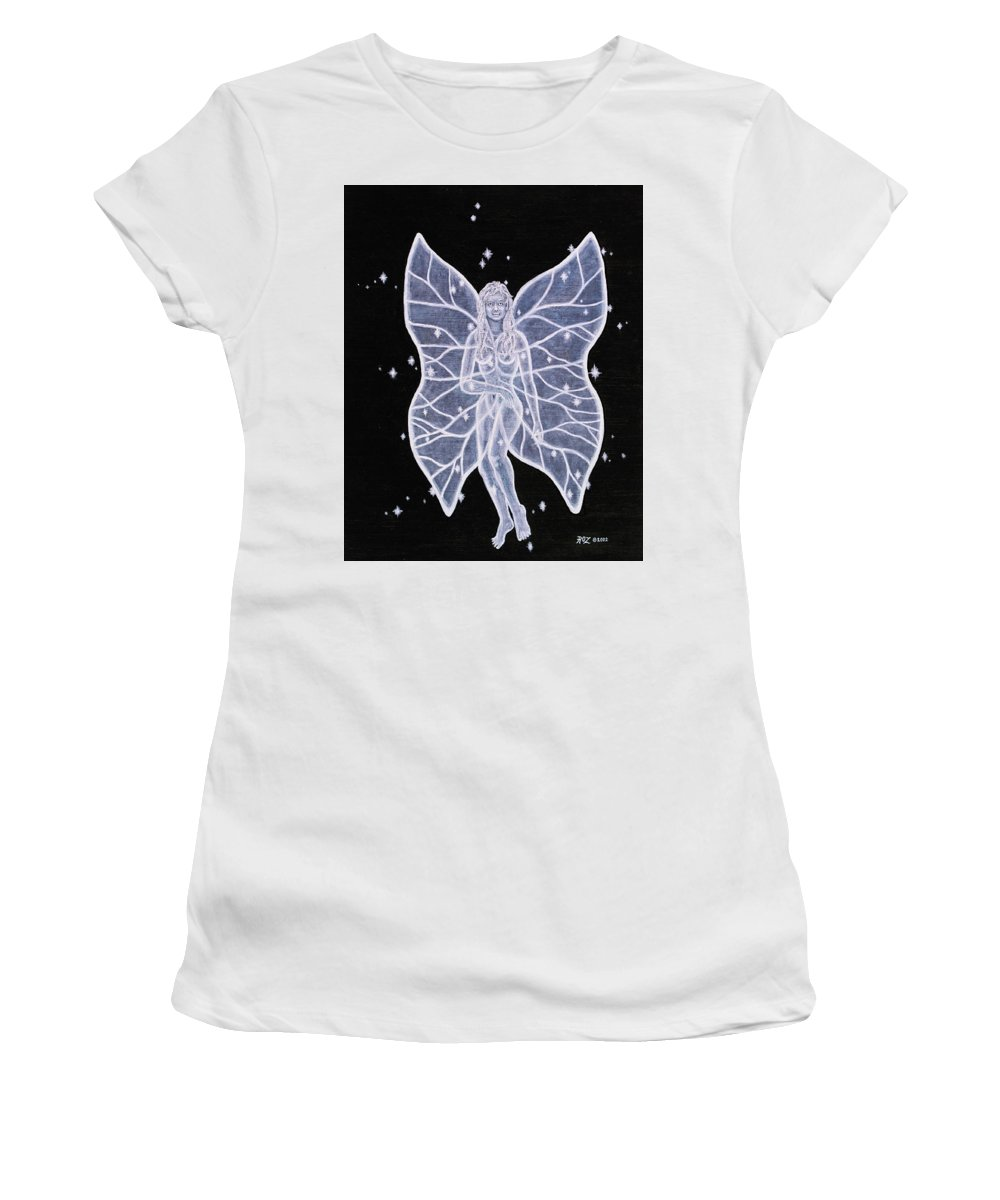 Fairy Women's T-Shirt (Junior Cut) featuring the painting Moon Fairy by Roz Eve