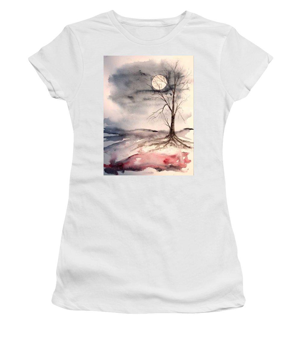 Moon Women's T-Shirt featuring the painting Moon Light by Derek Mccrea