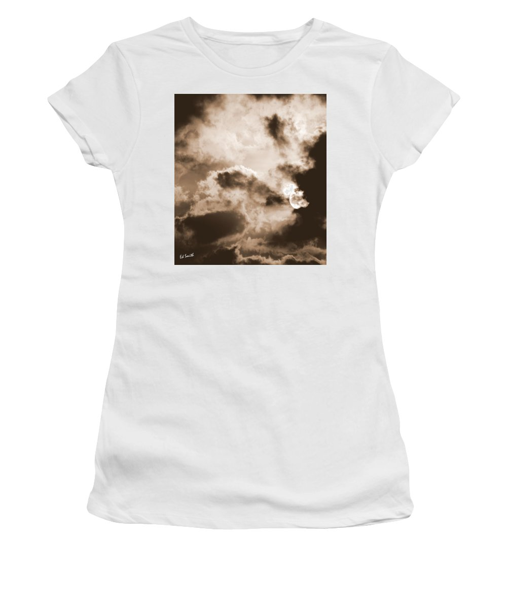 Moon Man Devours The Sun Women's T-Shirt (Athletic Fit) featuring the photograph Moon Man Devours The Sun by Ed Smith
