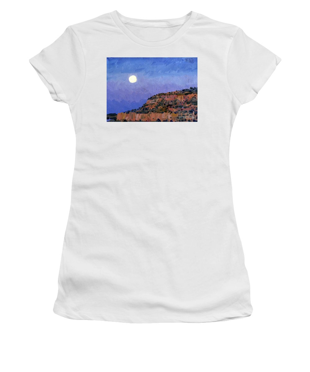 Moonrise Women's T-Shirt (Athletic Fit) featuring the painting Moonrise Over Gallup by Donald Maier
