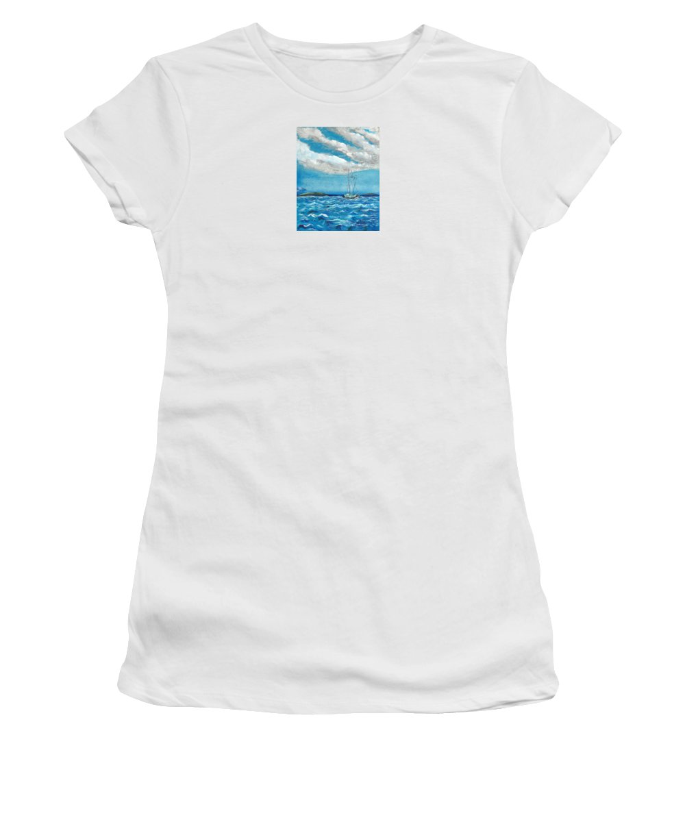 Impressionism Women's T-Shirt (Athletic Fit) featuring the painting Moored In The Bay by J R Seymour