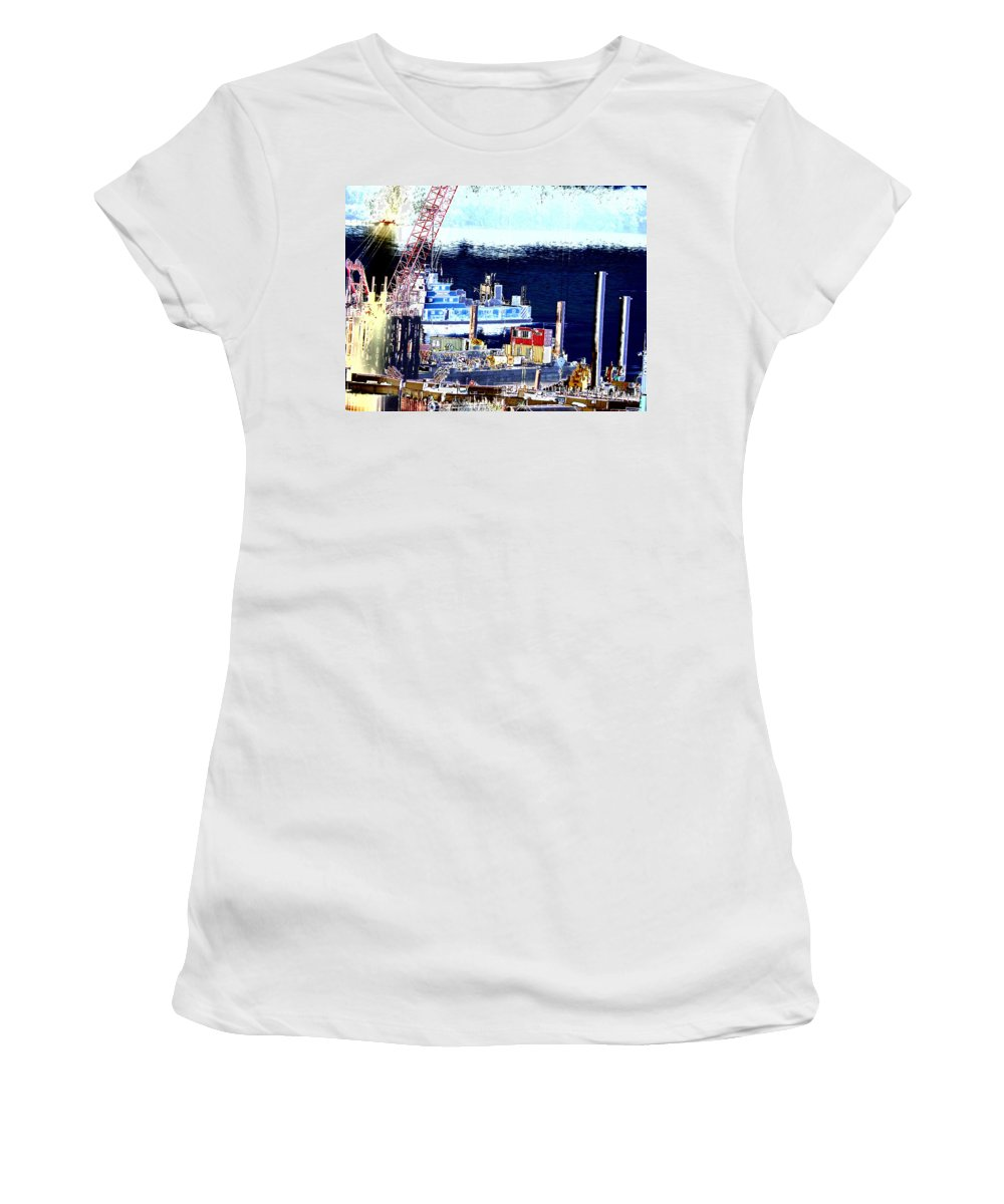 Abstract Women's T-Shirt (Athletic Fit) featuring the photograph Morning Blooms by Rachel Christine Nowicki