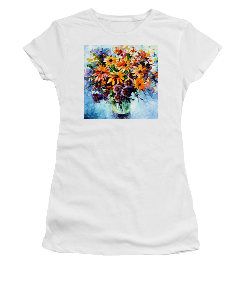 Afremov Women's T-Shirt (Athletic Fit) featuring the painting Morning Bouquet by Leonid Afremov
