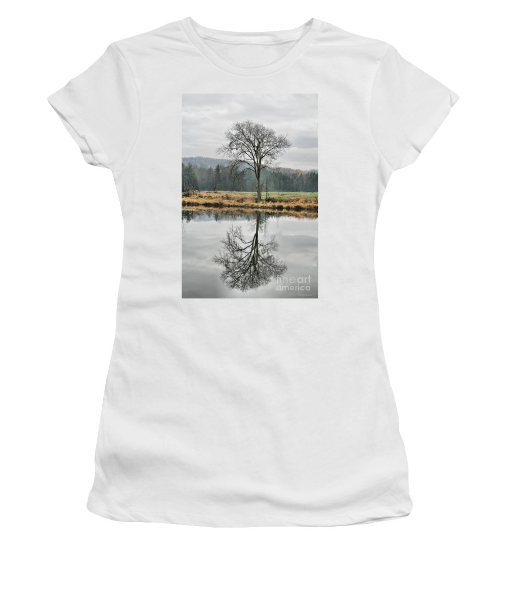 Reflections Women's T-Shirt featuring the photograph Morning Haze And Reflections by Deborah Benoit