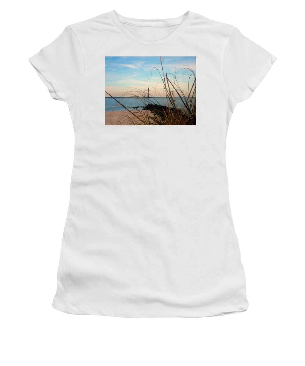Photography Women's T-Shirt (Athletic Fit) featuring the photograph Morris Island Lighthouse In Charleston Sc by Susanne Van Hulst