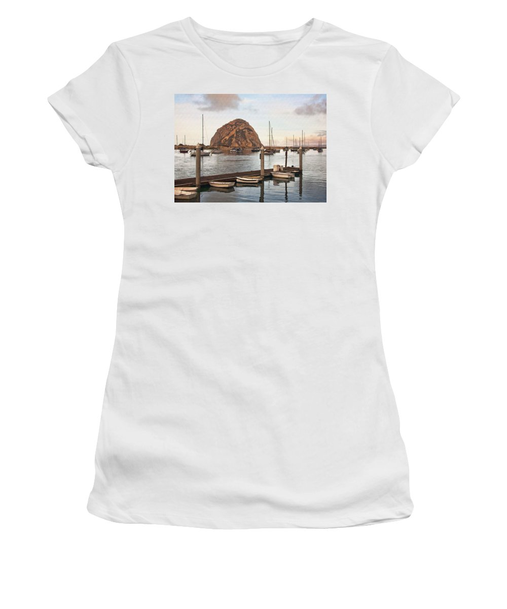 Morro Bay Women's T-Shirt (Athletic Fit) featuring the digital art Morro Bay Small Pier by Sharon Foster