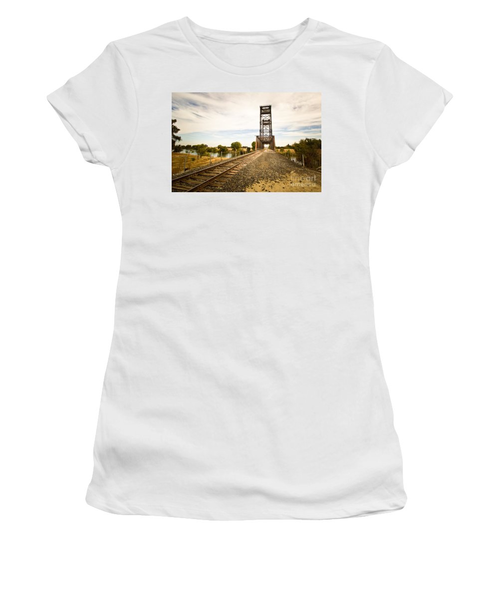 California Women's T-Shirt featuring the photograph Mossdale Rails by Ava Peterson
