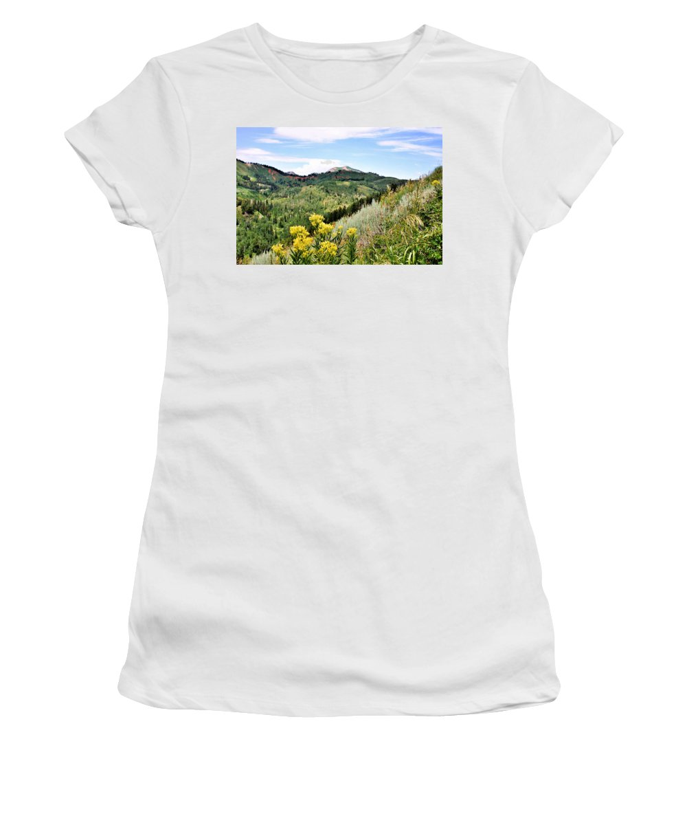 Mountain Women's T-Shirt (Athletic Fit) featuring the photograph Mountain Meadows by Kristin Elmquist