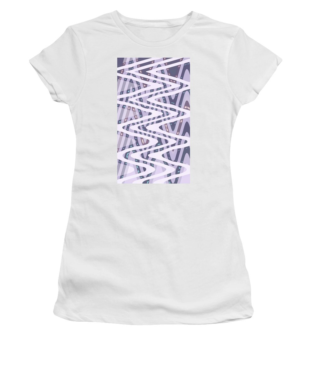 Moveonart Digital Gallery San Francisco California North Beach Jacob Kane Kanduch Women's T-Shirt (Athletic Fit) featuring the digital art Moveonart Dreamers Waves by Jacob Kanduch