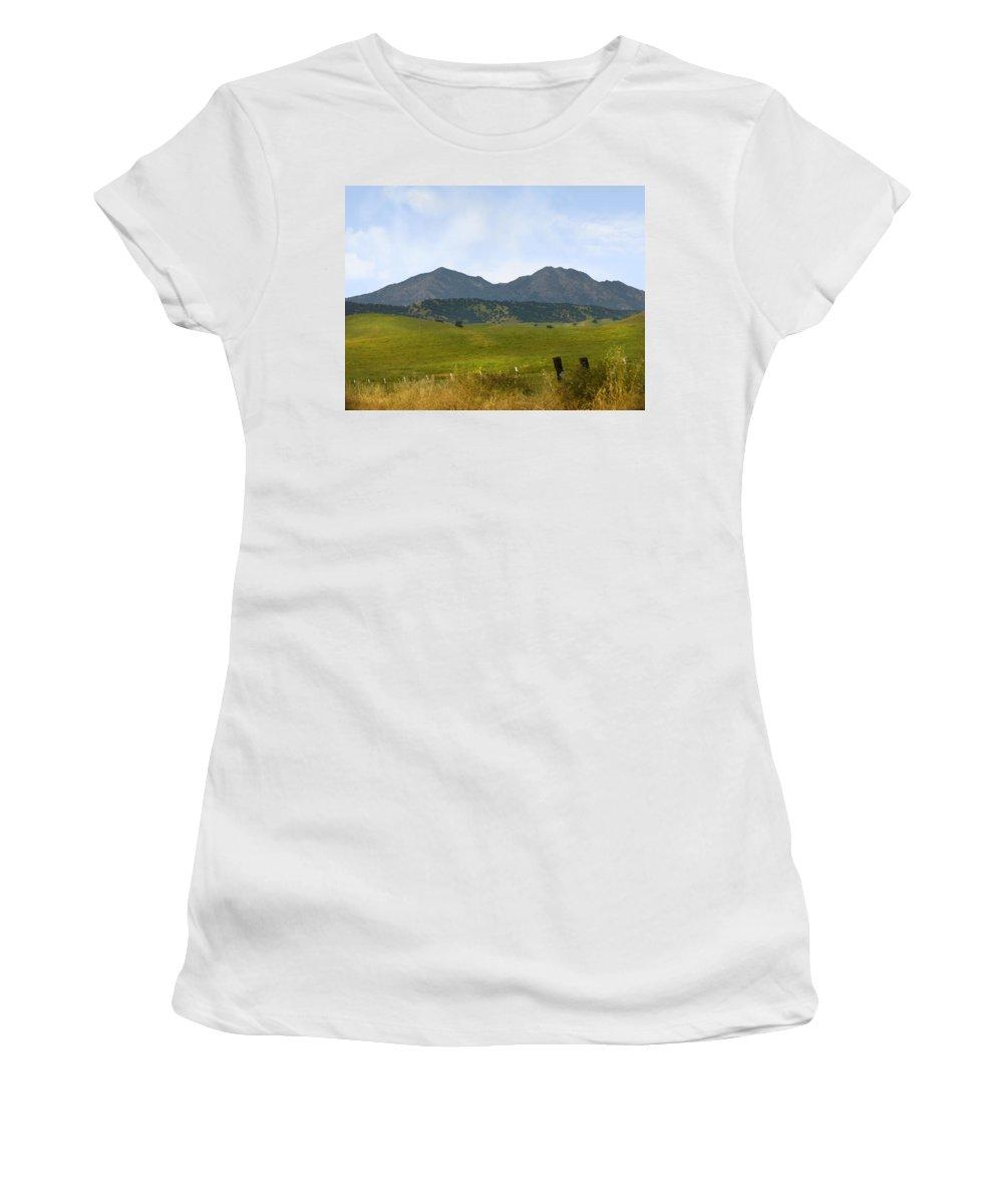 Landscapes Women's T-Shirt (Athletic Fit) featuring the photograph Mt. Diablo Mcr2 by Karen W Meyer