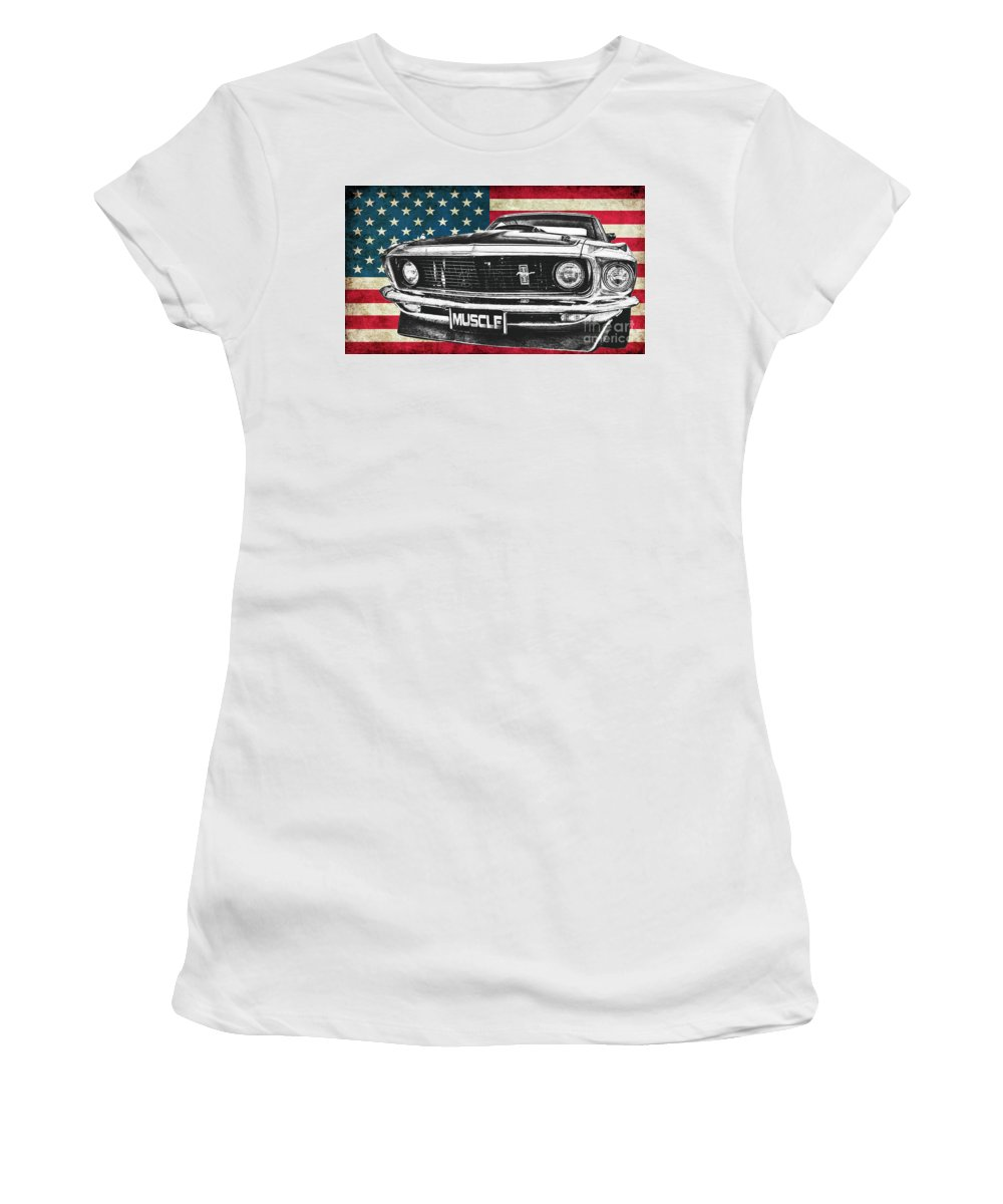 Mustang Women's T-Shirt (Athletic Fit) featuring the photograph Muscle Us Mustang by Benjamin Dupont