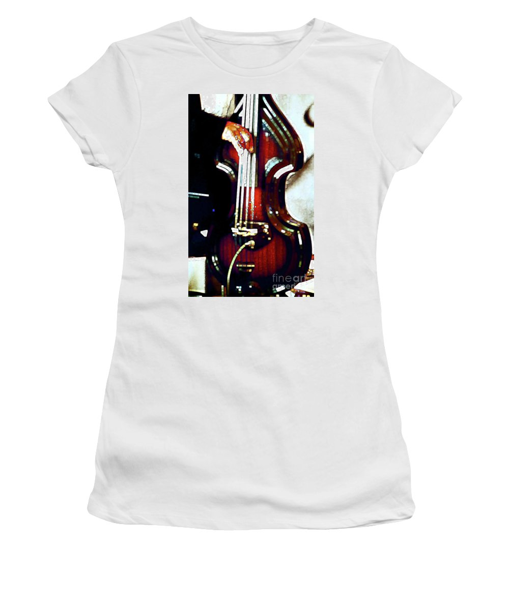 Abstract Women's T-Shirt (Athletic Fit) featuring the photograph Music Man Bass Violin by Linda Parker