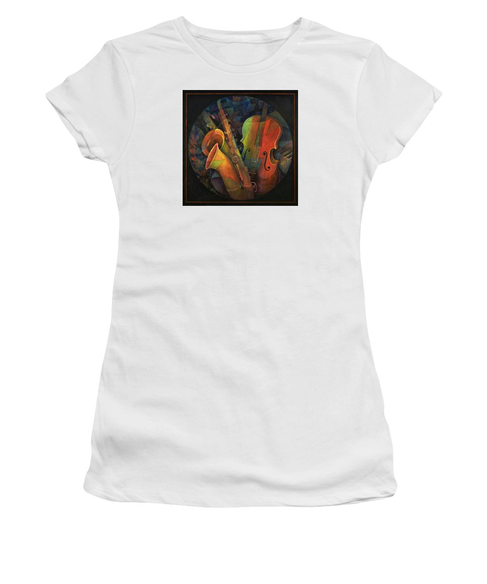 Susanne Clark Women's T-Shirt (Athletic Fit) featuring the painting Musical Mandala - Features Cello And Sax's by Susanne Clark