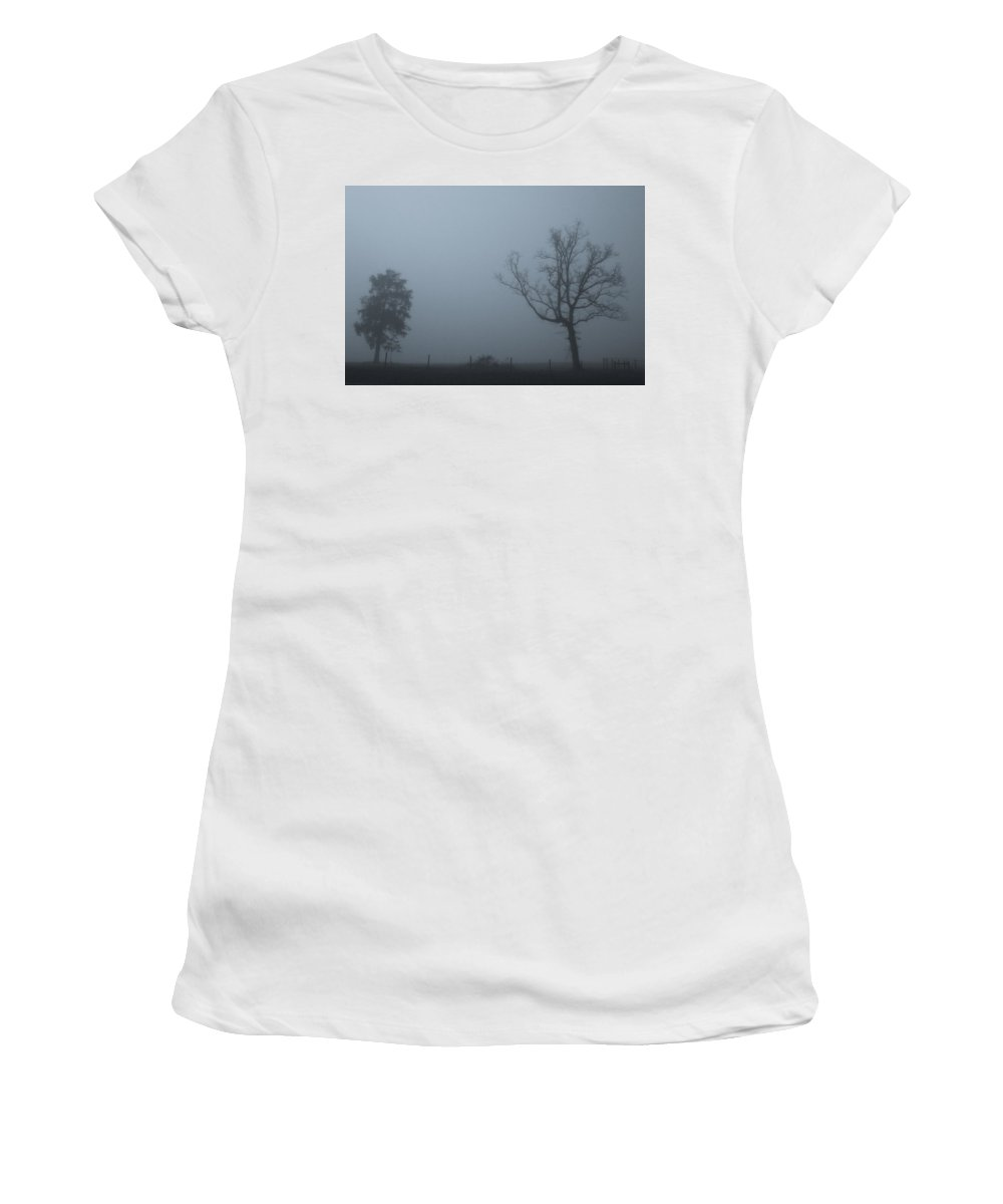 Foggy Morning Women's T-Shirt featuring the photograph Mysterious Trees by BF Melton